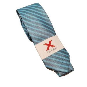 NWT Calvin Klein Mens Teal Blue Striped Tie